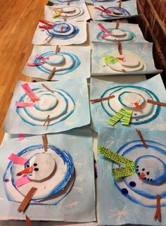 aerial view snowmen... this blog has a lot of wonderful art projects for grade school age.