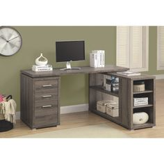 I love the look of this desk! We're setting up a home office so it would be perfect. #SetMeUpBBY Monarch 3-Drawer Corner Desk (I 7319) - Dark Taupe   - Online Only