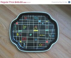 ON SALE  8/29 to 9/5 50s ATOMIC English 1950s Metal Tray Eames on Etsy, $27.00