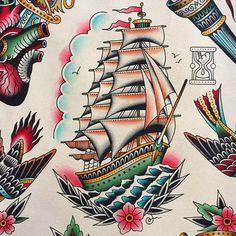 40 Ideas Tattoo Traditional Ship Ideas - 40 Ideas Tattoo Traditional Ship Ideas Informations About 40 Ideas Tattoo Traditional Ship I - Traditional Nautical Tattoo, Traditional Ship Tattoo, Tattoos 3d, Ship Tattoos, Ankle Tattoos, Arrow Tattoos, Flash Tattoos, Tattoo Barco, Tatuagem Old Scholl