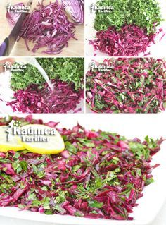 Pickle Tadında Mor Lahana Salad Recipe, How to Make It? - Feminine Recipes - Delicious, Practical and Most Exquisite Recipes Site Purple Cabbage Salad Recipe, Cabbage Salad Recipes, Salad Recipes Video, Slaw Recipes, Eggplant Dip Recipes, Roasted Eggplant Dip, Roast Eggplant, Turkish Salad, Appetizer Salads