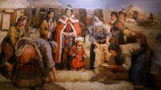 Çin kaynaklarında 匈奴 (Xiongnu) olarak geçen Hunlar; önünde eğilinip tas içinde birşeyler ikram edilen bir çocuk (belki kağan çocuğu?), pek de çekik durmayan gözleri ile kadınlar; arkada Türk çadırları (Resim: Çin, Henan müzesi)