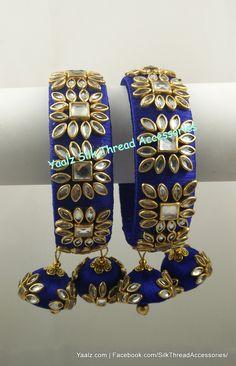 37 Beautiful Threaded Anklet Designs – Love Your Ankle Kundan Bangles, Silk Bangles, Bridal Bangles, Silk Thread Bangles Design, Thread Jewellery, Diy Jewellery, Anklet Designs, Ankle Chain, Beaded Anklets