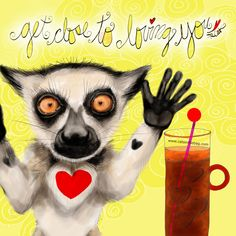 Close to loving you! What my Coffee says to me July 13 - drink YOUR life in - every moment be grateful for the love you have and the love you can share. (What my Coffee says to me is a daily, illustrated series created by Jennifer R. Cook for YOUR mental health) #coffee #coffeelovers #lemurs #fridayfeeling #selflove #loveiseverywhere #mentalhealth #art #creativity #illustration #lemursofinstagram