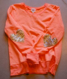 """The """"Dazzle Patch"""" Sweatshirt  w/Heart Sequin Elbow Patch - Valentines Day Sale"""