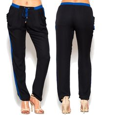 Black and blue color blocked drawstring joggers.  Fits true to size. $39.00