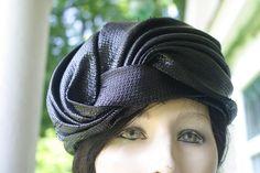 Vintage CHRISTIAN DIOR black straw turban.