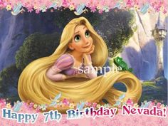 TANGLED Rapunzel Edible CAKE Topper Icing Sheet Image by CoolCakeCreations