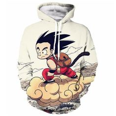 Kid Goku On Nimbus Cloud Anime Hoodie - OtakuForest.com