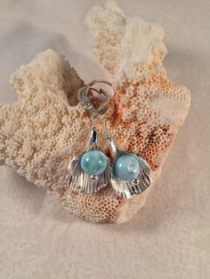 Earrings Genuine Larimar and Sterling Silver by TerraMarJewelry