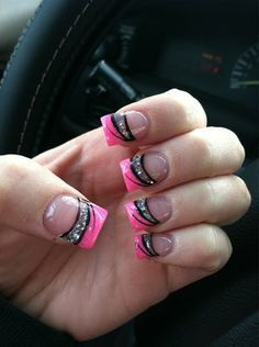 pink tips with black and silver print designs