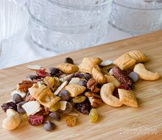 Trail mix: pecans, cashews, almonds, golden raisins, dark chocolate chips, dried mixed fruits (berries, cherries, cranberries), high fiber cereal (Puffins, shredded wheat or oatmeal squares)