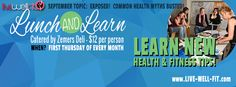 Lunch and Learn is the first thursday if each month..Held at our location in the small gym at 6205 SW 34th street at LIVEWELLFIT. Sign up online and come learn new things about healthy and wellness.. topics are posted each month or contact us for details. 806-341-8679.. cost is $12.00 and a healthy lunch provided by Zemers Deil! www. schedule.live-well-fit.com