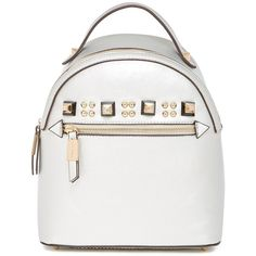 Steve Madden Armand Mini Backpack ($45) ❤ liked on Polyvore featuring bags, backpacks, silver, white backpack, backpack bags, mini bags, silver backpacks and mini rucksack