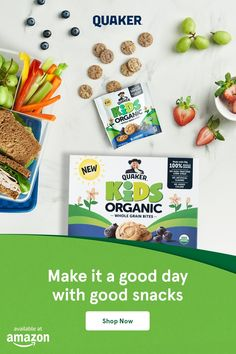 Feel good about snack time with New Quaker Kids Organic Bars and Bites. Baby Food Recipes, Gourmet Recipes, Crockpot Recipes, Whole Food Recipes, Cooking Recipes, Toddler Snacks, Kid Snacks, Kids Diet, Food Kids