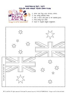 Australia Day make-your-own-flag printable Australia For Kids, Australia School, Make Your Own Flag, Australia Day Celebrations, Aus Day, Australian Flags, Daisy Girl Scouts, Girl Scout Crafts, Anzac Day