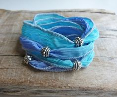 beachcomber yoga by the sea  turquoise blue hand dyed silk wrap bracelet by beachcombershop, $20.00
