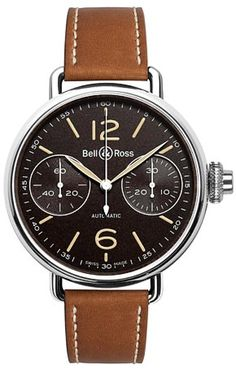 New Bell & Ross Chronograph Monopoussoir Heritage 45 mm watch. Watches of Mayfair Bell Ross, Vintage Watches For Men, Vintage Men, Schaumburg Watch, Style Classique, Bracelet Cuir, Luxury Watches, Men's Watches, Dress Watches