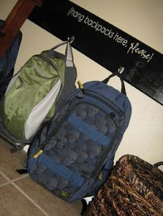 Cute backpack storage- Bought the supplies, can't wait to get started! Backpack Hooks, Backpack Storage, Backpack Organization, Diy Backpack, Entryway Organization, Diy Bags Hanger, Hanger Hooks, Diy Table Top, Backpack Pattern