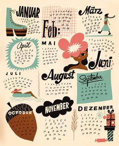 Freundin Calendar by Sanna Mander — Agent Pekka Diy Calendar, Printable Calendar Template, Calendar Design, Cut Paper Illustration, Graphic Illustration, Greeting Card Shops, Branding, Book Design, Envelope