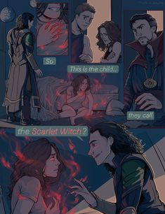 i want an interaction between loki and scarlet witch so bad i want him to teach her things i want her to figure out she can raise people from the dead and being petra back i want full on scarlet witch in all of her awesome glory. I WANT LOKI HELPING WANDA Marvel Avengers, Wanda Marvel, Marvel Jokes, Marvel Funny, Marvel Dc Comics, Marvel Heroes, Captain Marvel, Captain America, Loki Thor