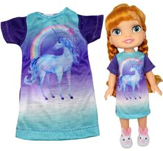 Your doll will sleep well wearing this comfy unicorn night shirt. Fastens at the back with a Velcro strip. Boy Doll, Girl Doll Clothes, Girl Dolls, American Girl Wellie Wishers, Wellie Wishers Dolls, Sleep Well, Cabbage Patch Kids, Doll Shoes, Doll Accessories
