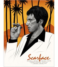 """Scarface (Variant)"" ""Scarface"" is a poster design by Los Angeles-based artist Mike Mitchell based off of the classic 1983 crime film of the same name Mike Mitchell, Films Cinema, Cinema Posters, Best Movie Posters, Movie Poster Art, Scare Face, Scarface Poster, Scarface Movie, Crime Film"