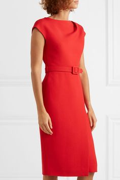 Oscar de la Renta Belted Embellished Wool And Silk-blend Cady Midi Dress - Red Business Casual Outfits, Business Dresses, Classy Outfits, Pretty Outfits, Oscar Dresses, Royal Dresses, Prom Dresses, Simple Dresses, Casual Dresses