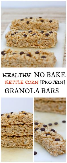 Healthy No Bake Kettle Corn Granola Bars- High in protein, fiber and gluten free to boot! Sinless snacking and ready in less than 10 minutes!