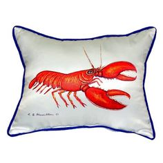 Betsy Drake Interiors Lobster Indoor/Outdoor Lumbar Pillow Size: Large