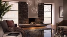 DRU Maestro Eco Wave gas fires can be remotely controlled . Family Room Fireplace, Modern Fireplace, Fireplace Wall, Fireplace Design, Chimenea Simple, Living Room Tv, Stone Wall Living Room, Inspired Homes, Modern House Design