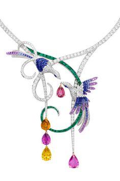 Van Cleef & Arpels - Oiseaux de Paradis Necklace - i don't know what's… Bird Jewelry, Animal Jewelry, Jewelry Art, Jewelry Accessories, Jewelry Necklaces, Jewelry Design, Fashion Jewelry, Unique Jewelry, Vintage Jewellery