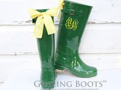 Custom Monogram Green Gloss Rain Boots with Yellow Bows // Oh. My. #SicEm.