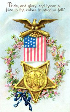 Vintage Veterans Day Clip Art | Day Art ★ Vintage Greeting Card, free piece of American Memorial Day ...