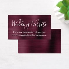 Burgundy Wedding Website Card Insert - script gifts template templates diy customize personalize special