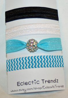 5 Fold Over Elastic Hair Ties Rhinestone by EclecticTrendz on Etsy, $5.00
