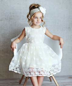 Look at this Lollies and Lace Boutique Pale Yellow Butterfly Lace A-Line Dress - Toddler & Girls on #zulily today!