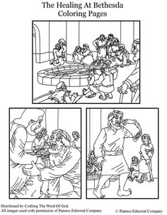 The Healing At Bethesda (Coloring Pages) Coloring pages are a great way to end a Sunday School lesson. They can serve as a great take home activity. Or sometimes you just need to fill in those last. Scriptures For Kids, Bible Stories For Kids, Bible Study For Kids, Sunday School Projects, Sunday School Activities, Sunday School Lessons, Abraham Bible Crafts, Kids Church Lessons, Children Church