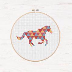 Horse Cross Stitch Pattern Pony Instant Download PDF Easy Cross Stitch Mosaic Animal Collage Geometric Horse Triangle Pattern DIY Polygon  by Stitchonomy on Etsy https://www.etsy.com/listing/252319746/horse-cross-stitch-pattern-pony-instant