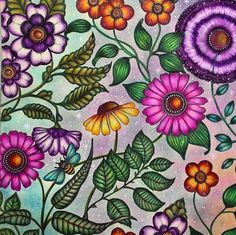Que flores lindas! Johanna Basford Books, Johanna Basford Coloring Book, Adult Coloring Pages, Coloring Books, Johanna Basford Secret Garden, Secret Garden Colouring, Colorful Garden, Flower Pictures, Prismacolor