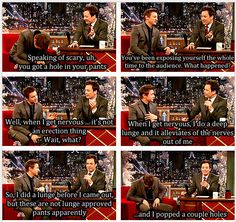 'lunge approved pants'. oh renner. I don't know what's funnier renner ripping his pants or jimmy Fallon's reaction