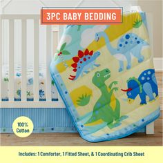 Wildkin Dinosaur Land 3 pc Bed in a Bag - Baby - Walmart.com - Walmart.com Cute Bedding, Baby Crib Bedding, Crib Mattress, Baby Cribs, Comforter, Baby Bedroom, Blue Bedding Sets, Crib Sets, Kids Bedding Sets