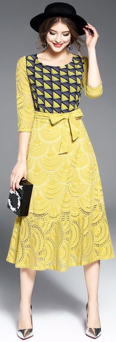 Yellow Lace Print Dress with Sash