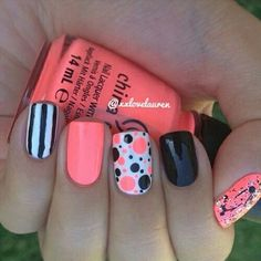 Solid, polka dot and crackle design nail art