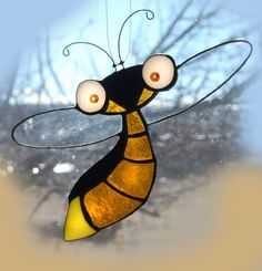 Stained Glass Art FLITTING FIREFLY by themerrymusemarket on Etsy, $30.00