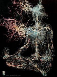 Pranayama flame 18 X 24 Greg Dunn and Brian Edwards, 2014 Greg Dunn, Corps Éthérique, Breath Of Fire, Psy Art, Anatomy Art, Pranayama, Psychedelic Art, Fractal Art, Dark Art