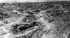 One of the German trenches in Guillemont during the Battle of the Somme. The battle began at 7.30am that day, and by the following morning 19,240 British soldiers had died