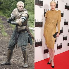 """(L) Gwendoline Christie as Brienne of Tarth in """"Game of Thrones"""" Season 3. (R) Gwendoline Christie attends the Elle Style Awards 2013 at The Savoy Hotel on February 11, 2013 in London, England."""