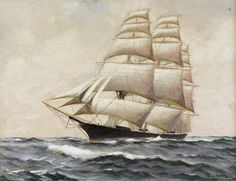 Harry Harlow Howe, AKA William Frederick Paskell (American 1866-1951) Clipper Ship