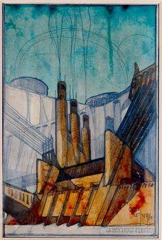 A century since futurism: Antonio Sant'Elia and Mario Chiattone | Antonio Sant'Elia, La centrale elettrica, 25.2.1914. Milano, collezione privata